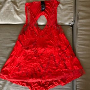 Free people red blouse, semi sheer. Size small